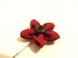 Office - Dark Red Flower Button Lapel