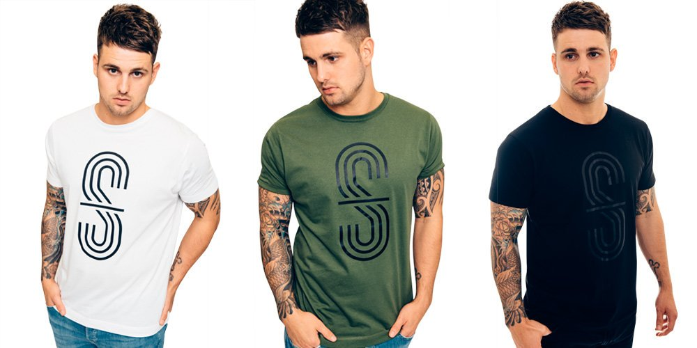 Three men in white, green and black t-shirts for highstreetgent