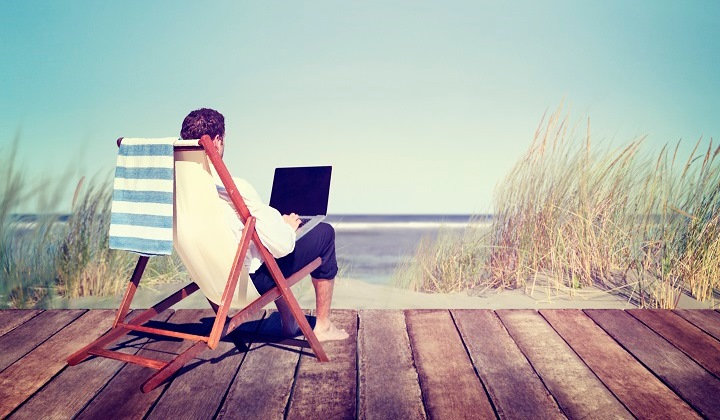 Businessman Working Summer Beach Relaxation with Laptop
