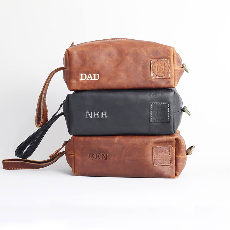 Gents leather wash bags