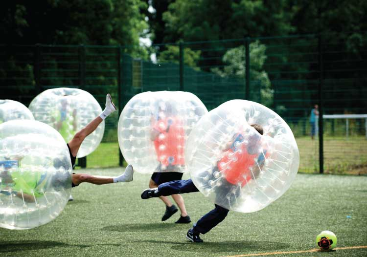 Men's stag Do - Zorbing and playing football