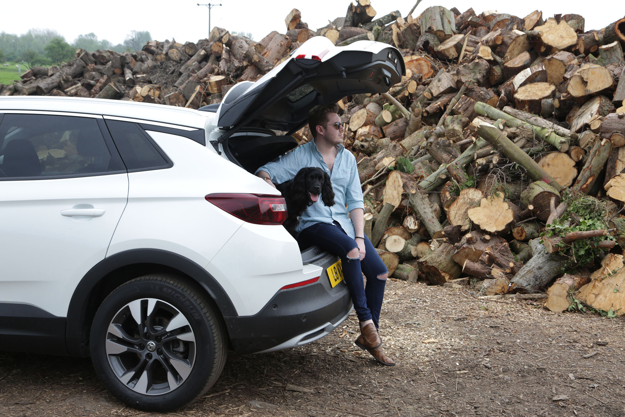 Man and dog in car, man in 4x4, 4x4 spacious,Vauxhall Grandland X, Vauxhall, dog