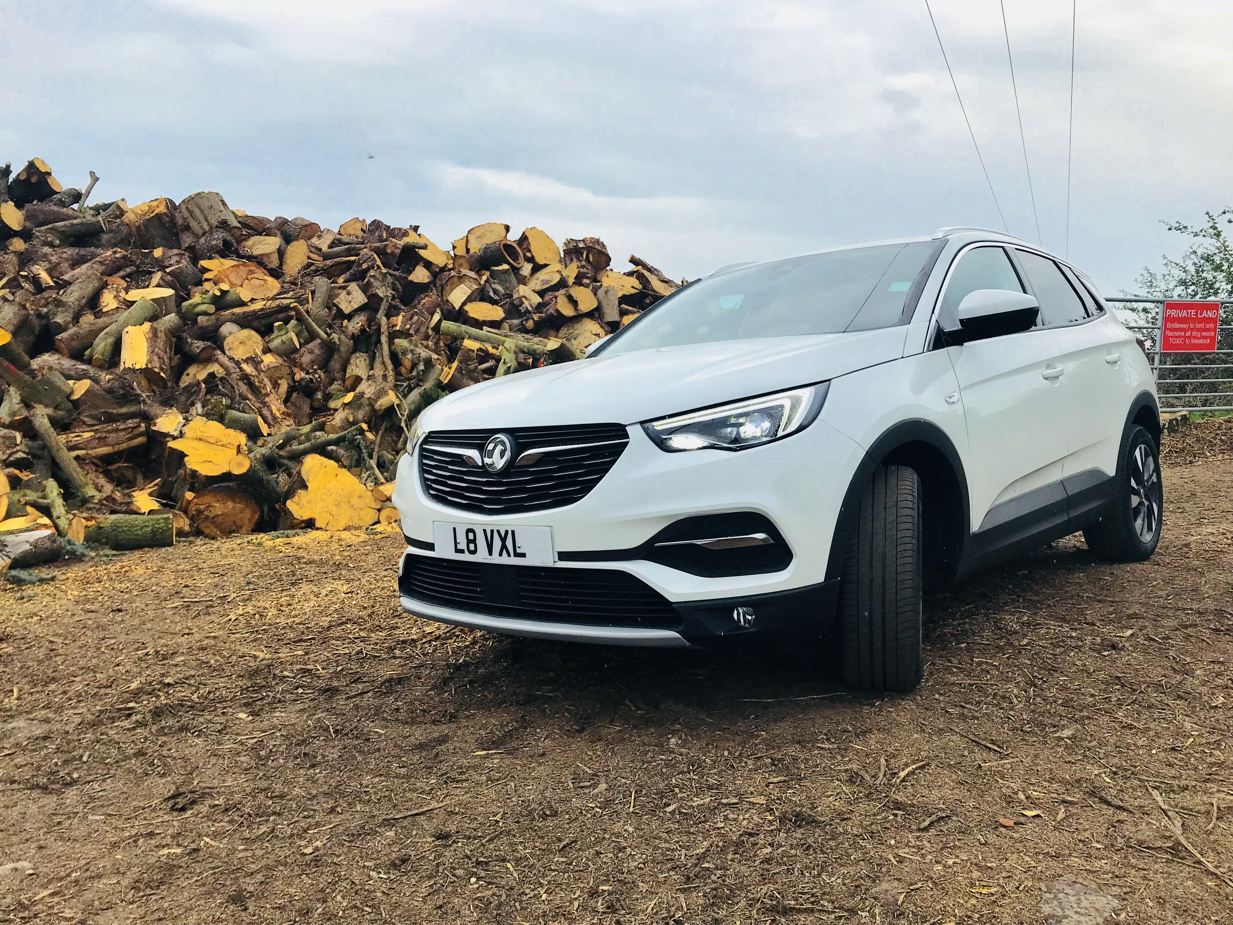 Vauxhall Grandland X, 4x4, SUV, Car in field, Car in front of Logs, New car