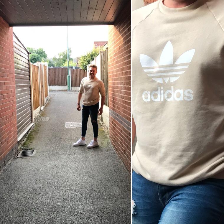 Men's sportswear, menswear, adidas jumper, adidas, men's style, man stood in alley, intu Derby, intu Derby shopping centre, intu