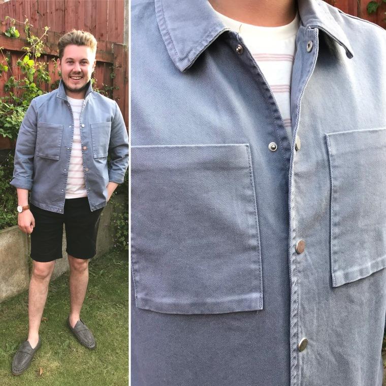 Man in blue shirt, Denim jacket, Guy stood in the garden Men's style, Black shorts, intu Derby, intu Derby shopping centre, intu