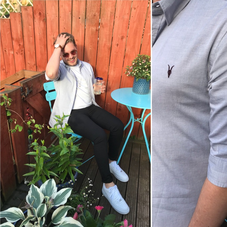 Man in blue shirt, All Saints shirt, Men's style, Black jeans, guy in white trainers, nike trainers style, intu Derby, intu Derby shopping centre, intu